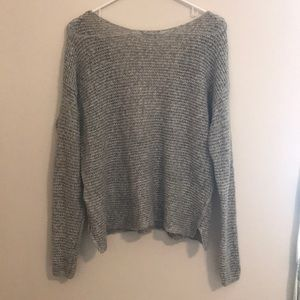 Grey knit sweater with lace detailed back